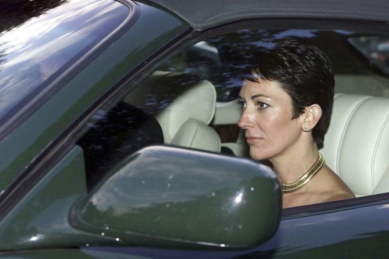 Ghislaine Maxwell leaves a wedding near Salisbury, England, on Feb. 9, 2000.