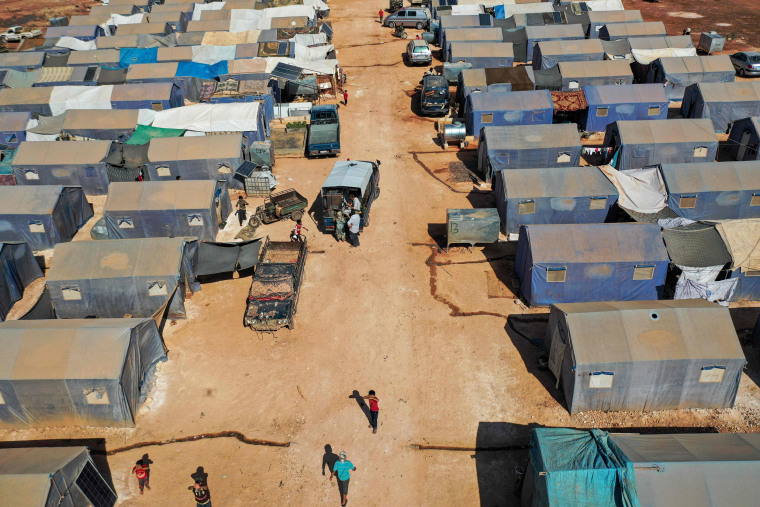 An aerial view of tents at the Azraq camp in Syria's northwestern Idlib province sheltering several hundred families displaced by the conflict on July 9, 2020.