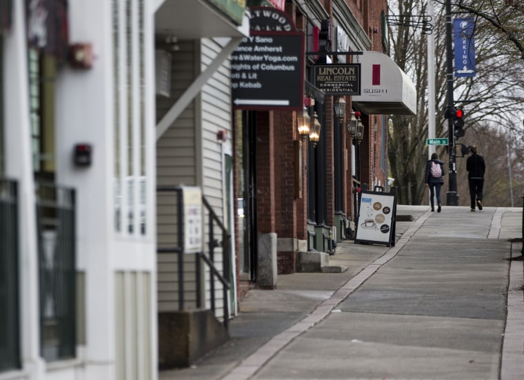 A nearly empty N. Pleasant Street in Amherst on April 30, 2020 as businesses struggle to adapt to new restrictions and a fewer customers due to COVID-19.