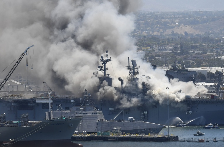 Image: Smoke rises from the USS Bonhomme Richard at Naval Base San Diego on July 12, 2020 after an explosion and fire on board the ship.