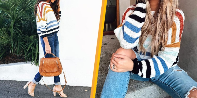 This adorable sweater could work as a top or even a bathing suit cover-up.