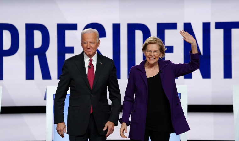 Image: Democratic presidential candidates Biden and Warren pose together at the start of the fourth U.S. Democratic presidential candidates 2020 election debate at Otterbein University in Westerville, Ohio U.S.
