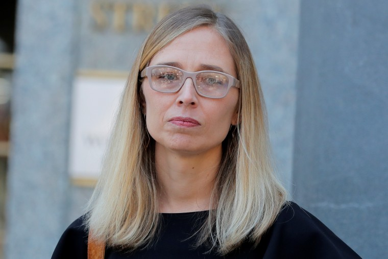 Annie Farmer leaves the courthouse after a bail hearing in U.S. financier Jeffrey Epstein's sex trafficking case in New York City