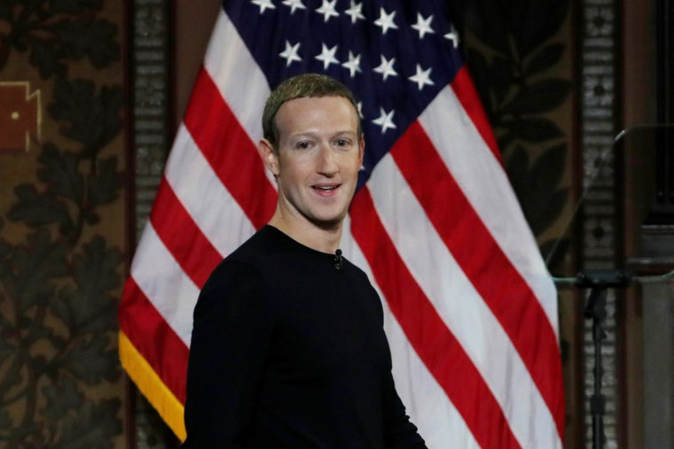 "Facebook CEO Mark Zuckerberg at a forum to discuss ""the challenges of protecting free speech while combating hate speech online, fighting misinformation, and political data privacy and security,"" at Georgetown University in Washington, D.C., on Oct. 17, 2019."