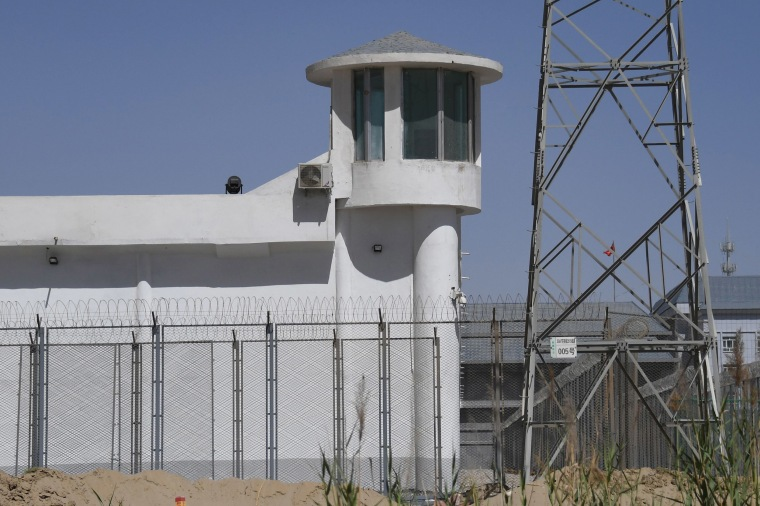 Image: A watchtower on a high-security facility near what is believed to be a re-education camp where mostly Muslim ethnic minorities are detained, on the outskirts of Hotan, in China's northwestern Xinjiang region.