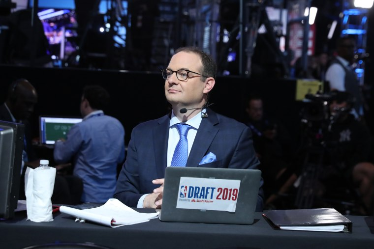 Reporter Adrian Wojnarowski attends the 2019 NBA Draft at Barclays Center in Brooklyn, New York, on June 20, 2019.