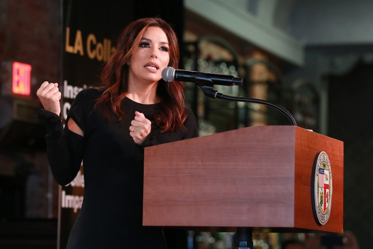 """Actress Eva Longoria speaks at the launch of \""""LA Collab\"""" with Mayor Eric Garcetti in Los Angeles on Jan. 13, 2020."""