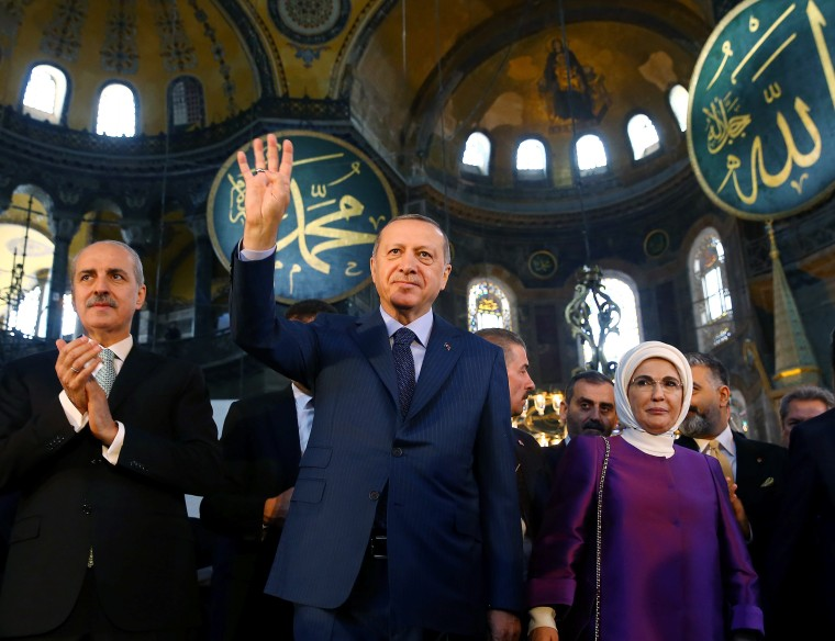 Image: Turkish President Erdogan attends the opening ceremony of the Yeditepe Biennial at the Hagia Sophia or Ayasofya Museum in Istanbul