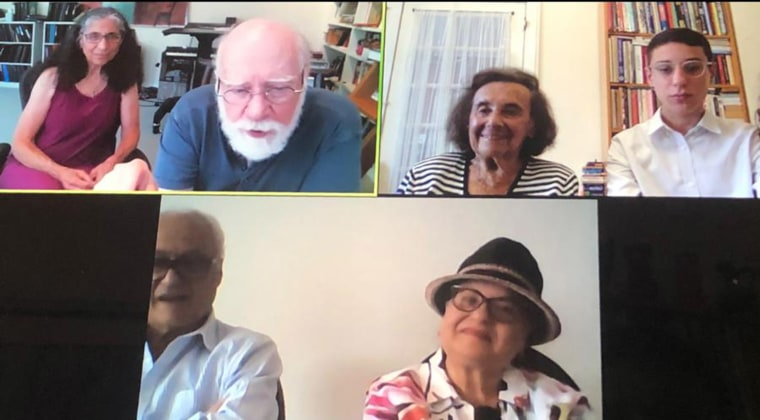 Image: Lilly Ebert and Dov Forman (right) hold a Zoom call with Arlene and Jason Schulman, descendants of the American GI that liberated Lilly during the war, along with Lilly's daughter and husband Bilha and Julian Weider.