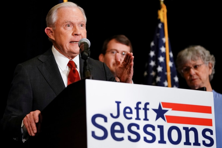 Image: Former U.S. Attorney General Jeff Sessions speaks after results are announced for his candidacy in the Republican Party U.S. Senate primary in Mobile, Alabama