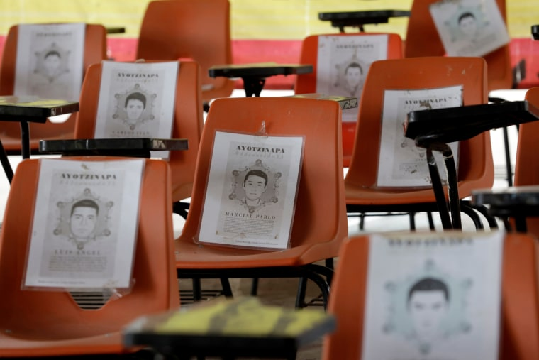 Chairs with pictures of the 43 missing students from Ayotzinapa Teachers Training College are seen at the college before the fifth anniversary of their disappearance, in Tixtla, Guerrero state, Mexico, Sept. 22, 2019.