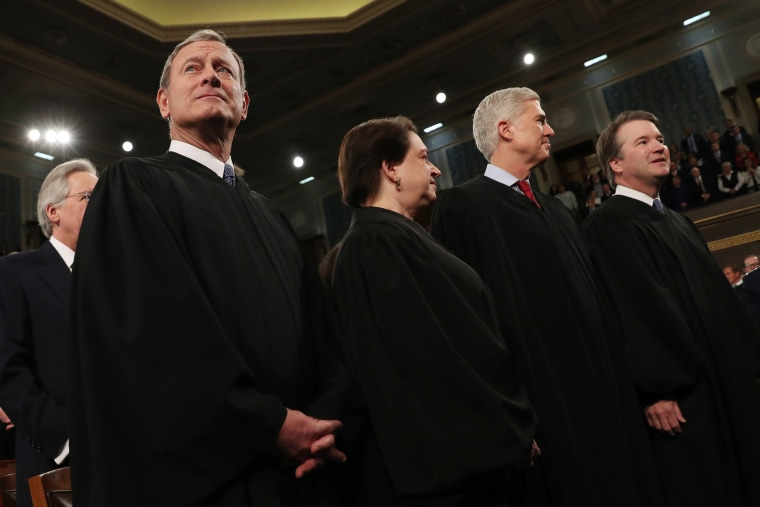 Supreme Court Chief Justice John Roberts, left, Associate Justice Elena Kagan, Associate Justice Neil Gorsuch and Associate Justice Brett Kavanaugh, right before President Donald Trump delivers his State of the Union address to a joint session of Congress in the House Chamber on Capitol Hill on Feb. 4, 2020.