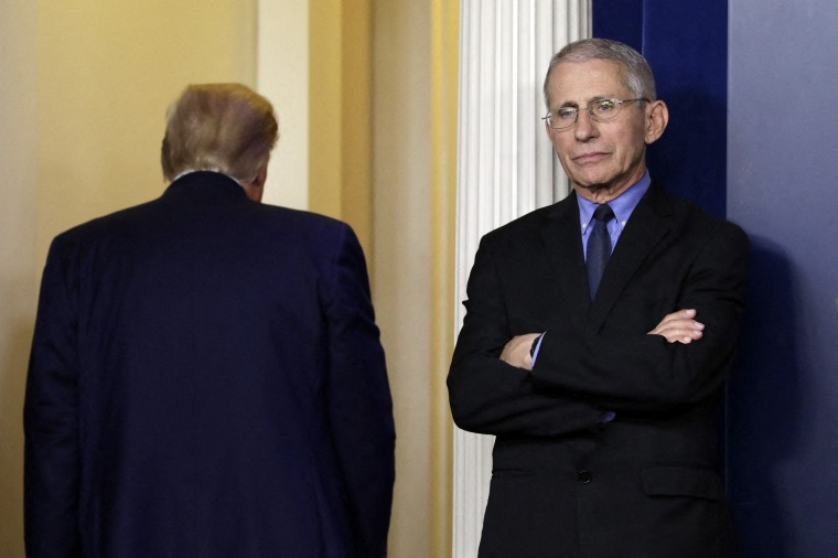 Dr. Anthony Fauci reacts as U.S. President Donald Trump leaves after his press briefing on the coronavirus at the White House on March 26, 2020.