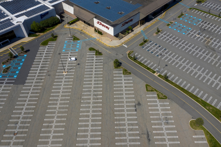 A J.C. Penney department store seen above empty parking lots at Woodbridge Center Mall that remains closed due to the ongoing outbreak of the coronavirus disease in Woodbridge Township, N.J., on May 21, 2020.