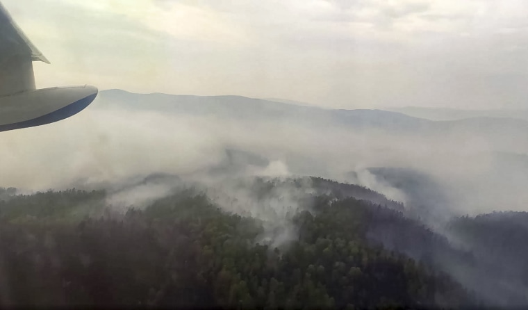 Image: A forest fire in the Trans-Baikal National Park in Buryatia, southern Siberia, Russia, Th