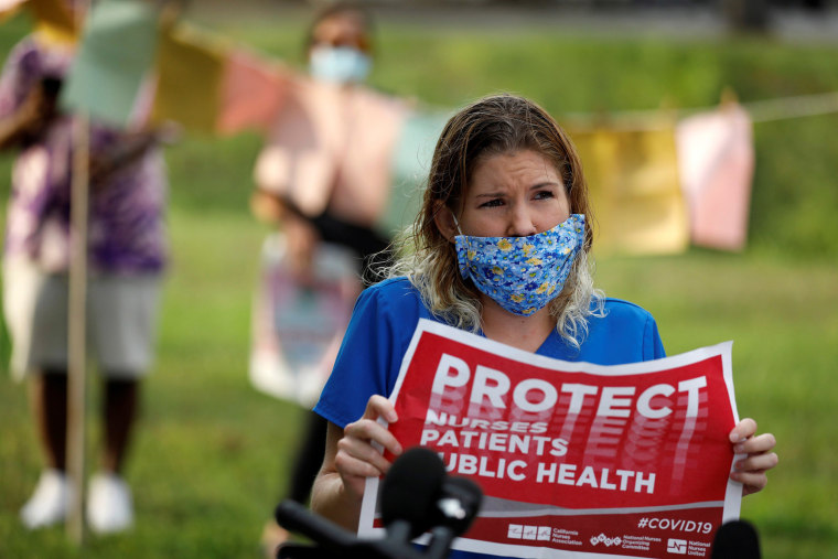Image: Nurses protest to highlight practices during the coronavirus disease (COVID-19) pandemic at St. Petersburg General Hospital in Florida