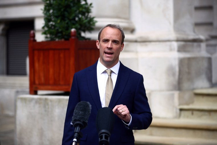 Image: Britain's Foreign Secretary Dominic Raab makes a statement on Hong Kong's national security legislation in London