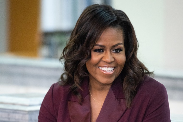 """Michelle Obama speaks with a local book group about her book """"Becoming"""" in Tacoma, Wash., on March 24, 2019."""