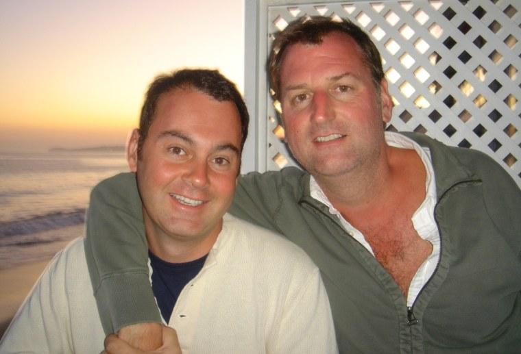 Mike Rucker, left, and his husband John Beardsley.