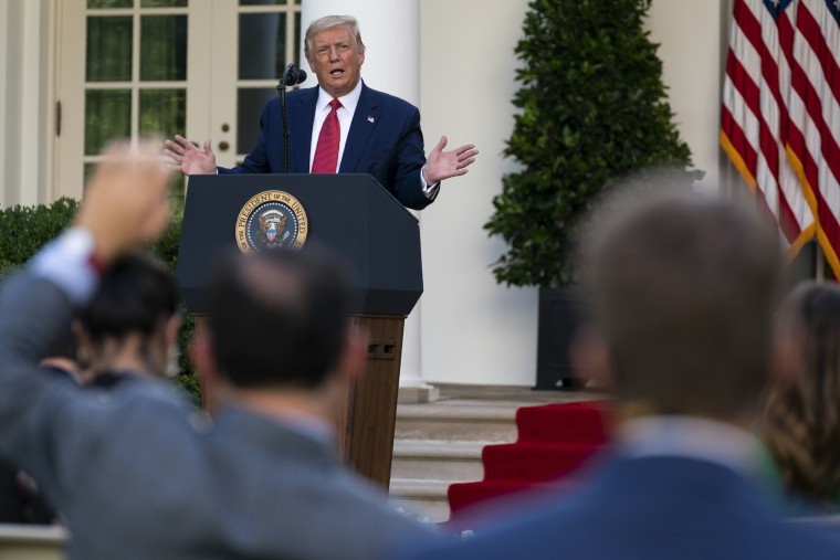 President Donald Trump speaks during a news conference in the Rose Garden of the White House on July 14, 2020.