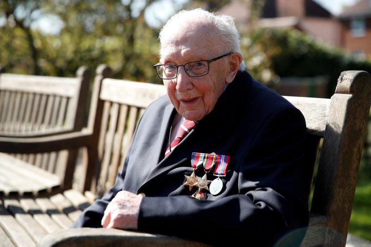 Image: Retired British Army Captain Tom Moore in Marston Moretaine, Britain.