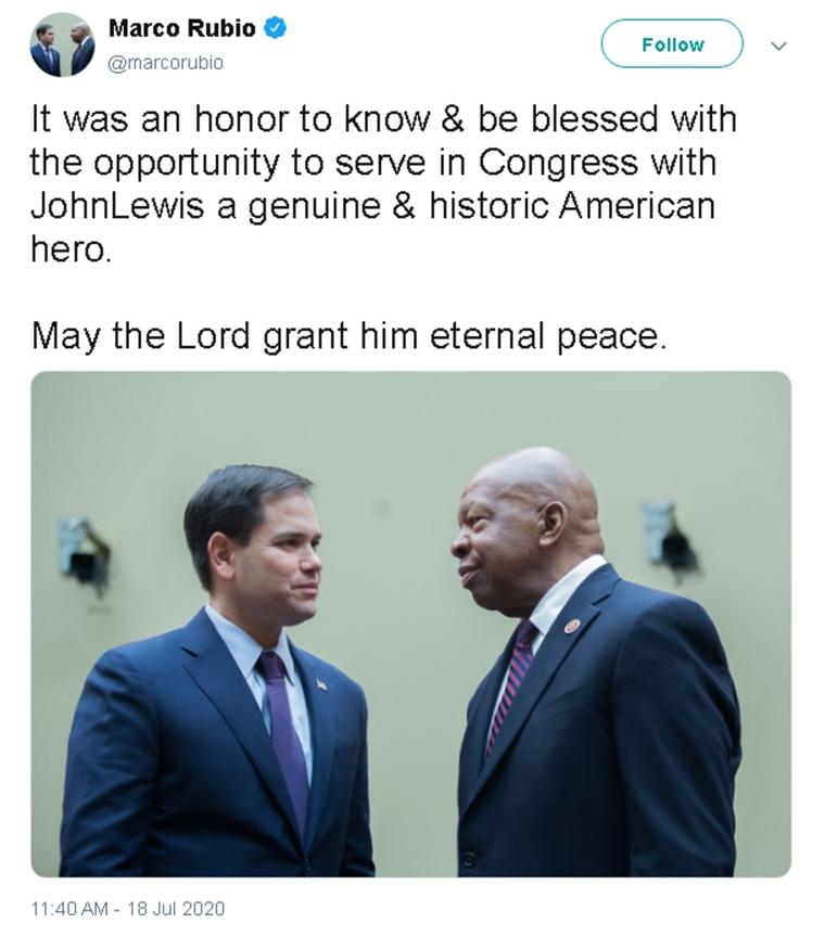 Image: Marco Rubio tweet John Lewis