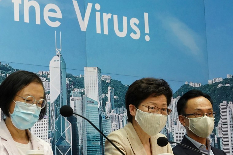 Image: Hong Kong Chief Executive Carrie Lam wearing a protective mask speaks during a news conference following the outbreak of the coronavirus disease (COVID-19)