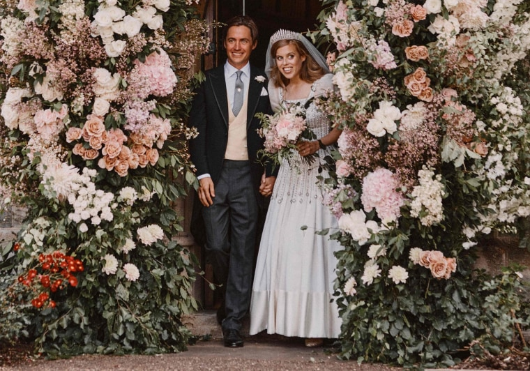 Britain's Princess Beatrice and her husband Edoardo Mapelli Mozzi after their wedding on Friday.