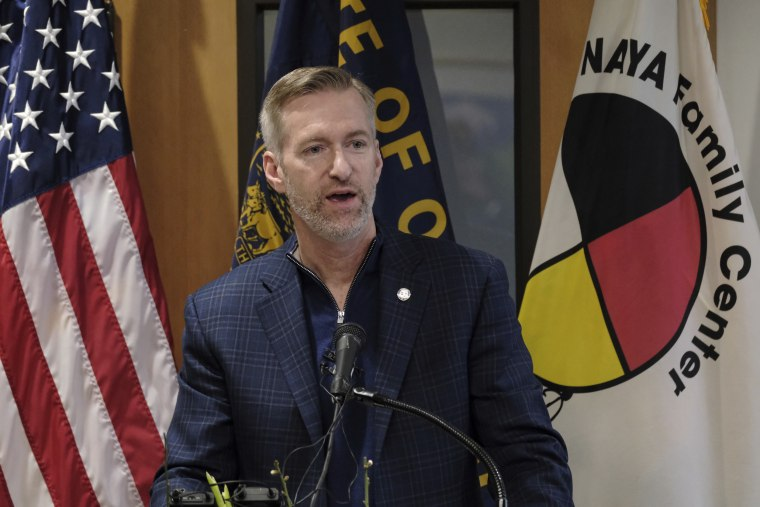 Mayor Ted Wheeler speaks during a ribbon cutting ceremony in Portland, Ore., on Jan. 29, 2020.