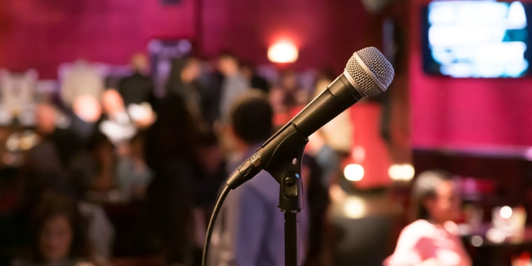 Using a microphone is just one of the many issues that will have to be addressed when stand-up comedians can return to comedy clubs.