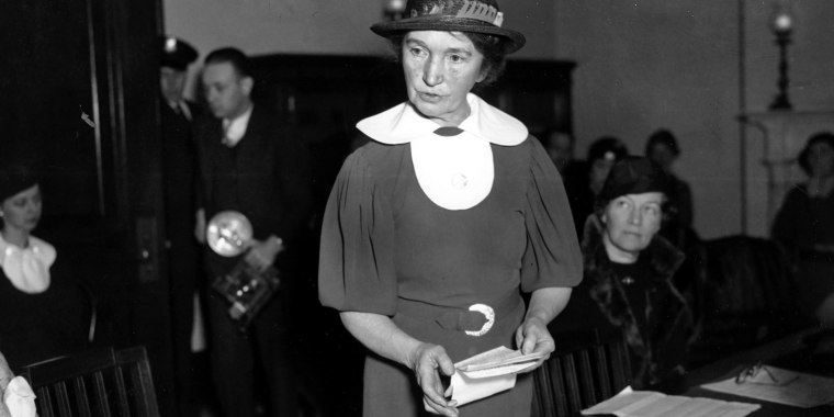 Margaret Sanger, who founded the American Birth Control League in 1921, speaks before a Senate committee to advocate for federal birth-control legislation in Washington, D.C., on March 1, 1934.