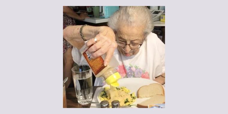 Virginia Tashjian loves to pour lots of garlic on her eggs.