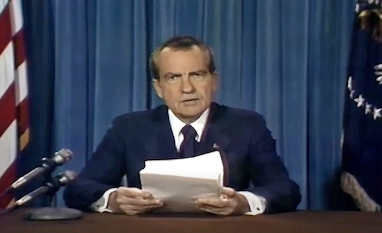"""In a still from a deepfake video as part of the """"In Event of Moon Disaster"""" project, President Richard Nixon delivers a televised address to the nation."""