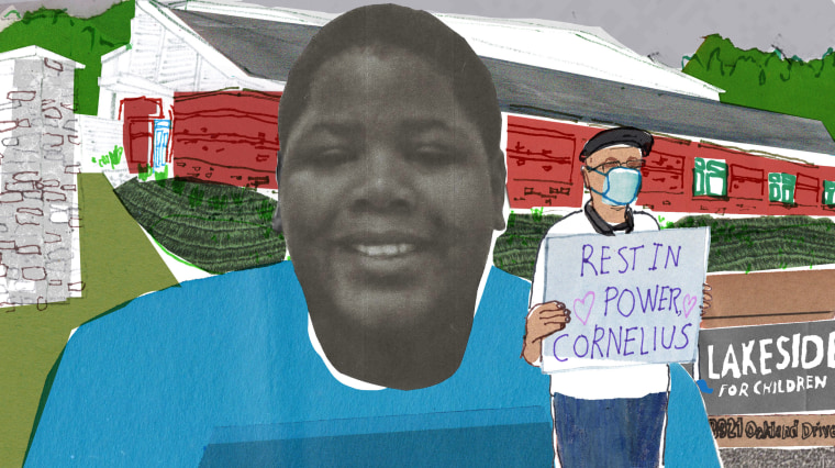 """Image: A photo Cornelius Fredericks in front of a sketch of Lakeside Academy, where he was restrained by staff and died, with a sketch of a protester holding a sign that says \""""Rest in Power Cornelius\"""""""