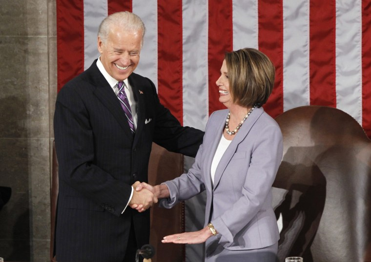 U.S. Vice President Joe Biden is greeted by Speaker of the House Nancy Pelosi as he arrives for President Barack Obama's State of the Union address on Capitol Hill on Jan. 27, 2010.