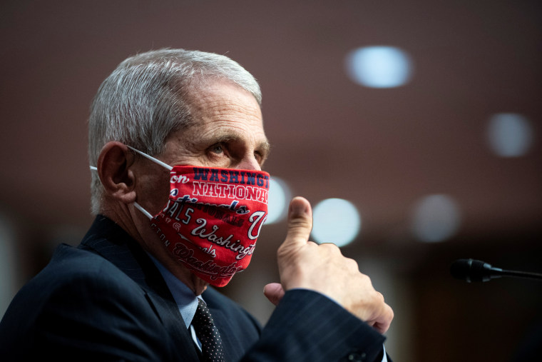 Dr. Anthony Fauci gives a thumbs up during a Senate Health, Education, Labor and Pensions Committee hearing on June 30, 2020.
