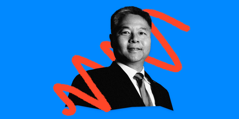 Image: Rep. Ted Lieu, D-Calif., on a bright blue background with red smudges.