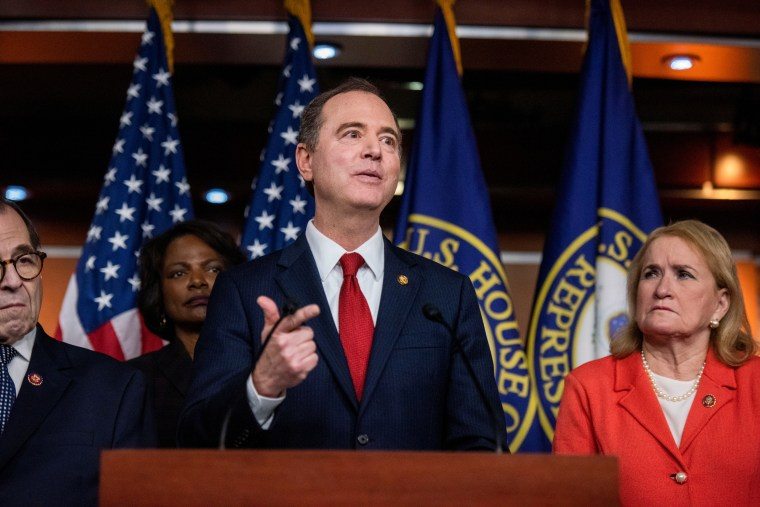 Rep. Adam Schiff (and fellow House Impeachment Managers hold a press conference at the Capitol on Jan. 28, 2020.