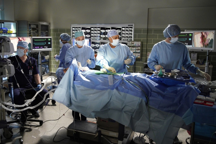 "Image: A scene from Season 16 episode of ""Grey's Anatomy."""