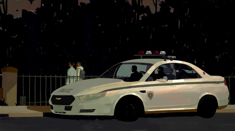 Image: Two officers sitting in their patrol car watch two Black people walk.