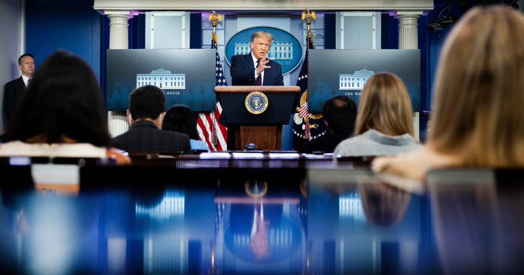 Image: President Donald Trump speaks during the renewed briefing of the Coronavirus Task Force in the Brady Briefing Room of the White House