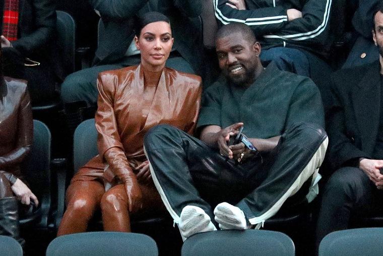 Kim Kardashian and Kanye West attend Paris Fashion Week on March 1, 2020.