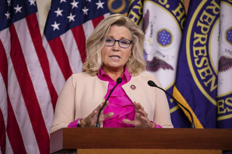 Image: Rep. Liz Cheney (R-WY) speaks during a news conference with other Republican members of the House of Representatives at the Capitol