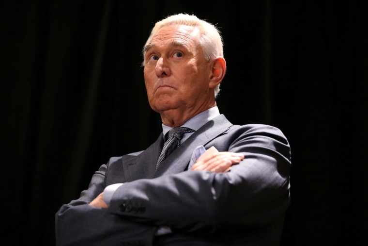 Roger Stone, longtime ally of President Donald Trump, arrives for a news conference in Washington, D.C., on Jan. 31, 2019.