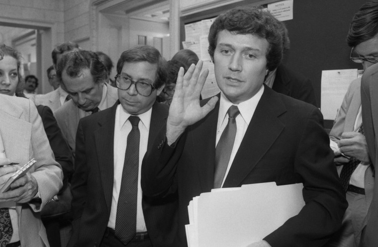 "Michael ""Ozzie"" Myers speaks to reporters at the Capitol after he was expelled from Congress by fellow House members for taking a bribe in the FBI ABSCAM case."