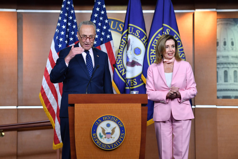 Senate Minority Leader Chuck Schumer and Speaker of the House Nancy Pelosi hold a press conference on Capitol Hill on July 23, 2020.