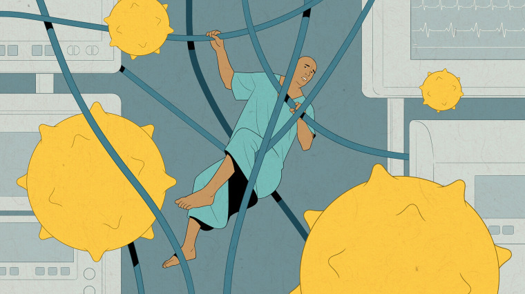 Image: A man in a hospital gown is entangled in wires from medical devices as COVID spores float nearby.
