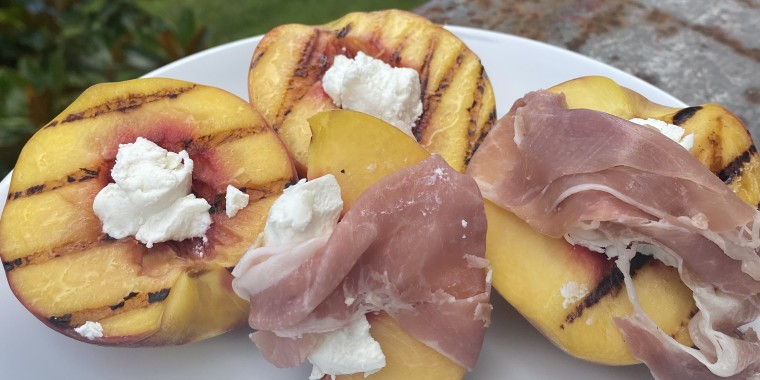 Grilled Peaches with Goat Cheese and Prosciutto