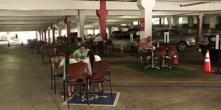 Glendale Galleria transformed its parking garage into an outdoor eating area for customers.