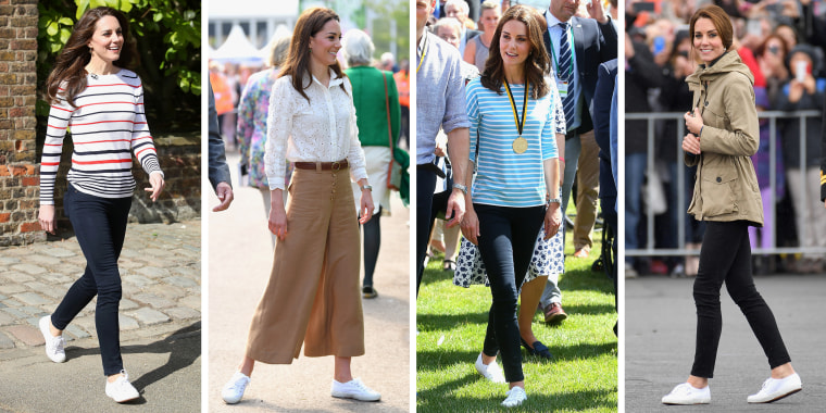 Catherine, Duchess of Cambridge, photographed at the London Marathon in 2017, the Chelsea Flower Show in 2019, Germany in 2017 and Canada in 2016.